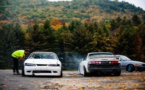 Картинка осень, лес, nissan, дрифт, белые, japan, ниссан, s15, s14, корч