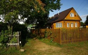 Картинка природа, дом, фон, обои, забор, деревня, картинка