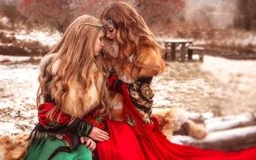Картинка меха, настроение, зима, украшения, девушки, подруги, волосы