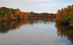 Картинка Осень, Озеро, Nature, Цвета, Bridge, Autumn, Colors, Мостик, Отражения, Lake, Forest