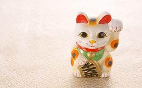Картинка кошка, талисман, Japan, манэки-неко, maneki neko