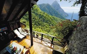 Картинка view, terrace, St Lucia, Caribbean island, Gros Piton suite, Ladera resort