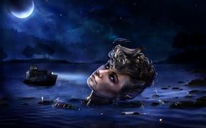 Обои ночь, вода, Голова, синий, коллаж