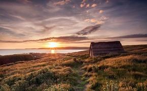 Картинка море, дом, берег, утро