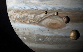 Обои спутники, Европа, Ганимед, Юпитер, Каллисто, планета