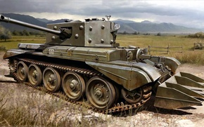 Картинка рисунок, арт, Великобритания, Cromwell, британский средний крейсерский танк, Mk.VIII, Кромвель, Tank Cruiser