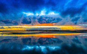 Картинка небо, облака, закат, озеро, отражение, зеркало