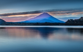 Картинка небо, деревья, пейзаж, озеро, гладь, гора, Япония, Фудзияма