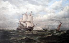 """Картинка масло, картина, художник, холст, Отто Людвиг Ричард, """"Корабли на море"""""""