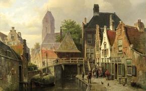 Картинка город, башня, Картина, Нидерланды, Голландия