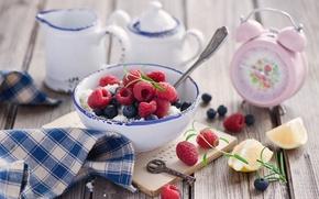 Картинка ягоды, малина, ключ, черника, будильник, творог