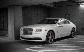 Картинка Rolls Royce, White, Parking, Wraith