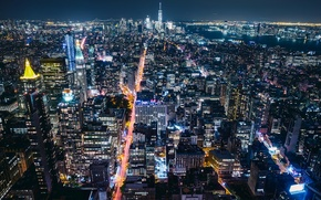 Обои огней, город, миллион, Нью - Йорк, Нью Йорк, ночь, США
