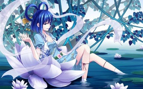 Картинка вода, девушка, аниме, арт, лотос, art, touhou kaku, shinebell