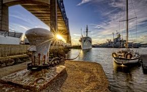 Картинка город, корабли, порт