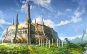Картинка горы, крепость, золотом, инкрустированая, плато, грамадная