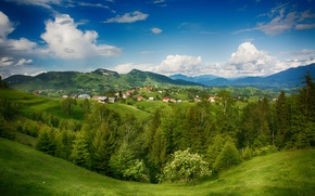 Картинка деревья, пейзаж, горы, дома, долина