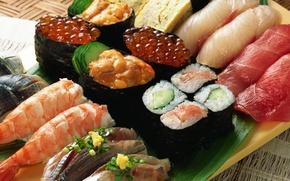Картинка икра, еда, креветки, роллы, морепродукты, рыба, блюдо