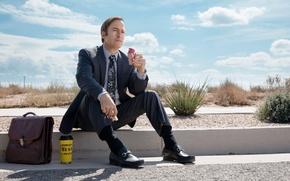 Картинка дорога, костюм, мороженое, сериал, портфель, обочина, криминал, TV Series, Bob Odenkirk, Jimmy McGill, Better Call …