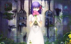 Картинка Girl, Fate/Stay Night, Flowers, Type-Moon, Sakura Matou, Heaven's Feel