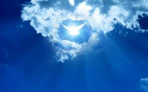 Картинка небо, облака, абстракция, голубь, sky, clouds, abstraction, dove