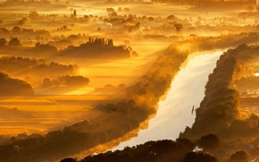 Картинка река Изер, Западная Фландрия, Бельгия, туман
