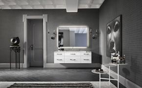 Картинка белый, дизайн, серый, черный, интерьер, ванная комната, ар-деко