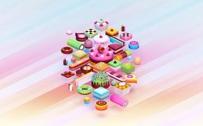 Картинка краски, еда, шоколад, colors, печенье, конфеты, сладости, торт, пирожное, пончик, cake, крем, десерт, food, 1920x1200, ...