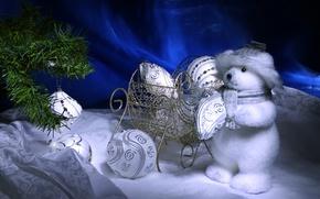 Обои сани, снег, ёлка, игрушки, new year, новый год, шары, christmas, мишка