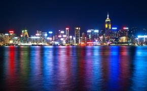 Обои море, ночь, огни, Гонконг, небоскребы, подсветка, Китай, мегаполис, Гавань Виктория
