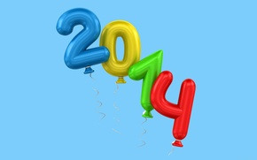 Обои воздушные шары, голубой фон, новый год, цифры, праздник, 2014