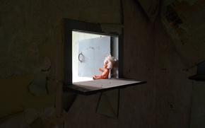 Картинка фон, кукла, окно