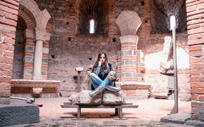 Картинка девушка, поза, замок, модель