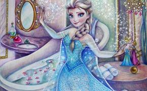 Картинка девушка, рисунок, платье, Frozen, Disney, art, Elsa, Холодное сердце