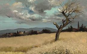 Картинка поле, облака, пейзаж, горы, дерево, дома, картина, Марсель Диф, Пшеница в Иль-де-Франс