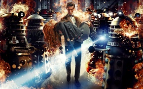 Обои Doctor Who, сериалы, Доктор Кто, Мэтт Смит, Matt Smith, Daleks, Далеки