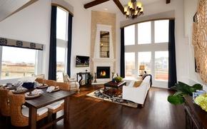 Картинка design, style, interior, villa, fireplace, dining, living space