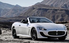 Обои Car, Горы, 2014, Maserati, GranCabrio, Кабрио, White, Гран, Белый, Мазерати, Автомобиль