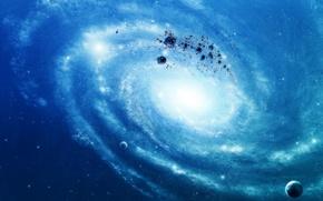 Обои обломки, планеты, синий, звезды, галактика