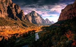 Картинка осень, лес, горы, природа, река