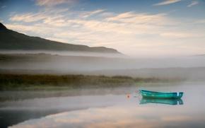 Картинка пейзаж, туман, озеро, лодка, утро
