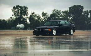 Картинка дождь, бмв, BMW, черная, black, E36