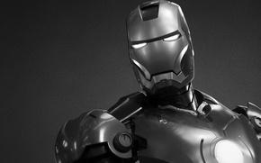 Картинка черно-белый, сталь, броня, железный человек, marvel, комикс, iron man, старк