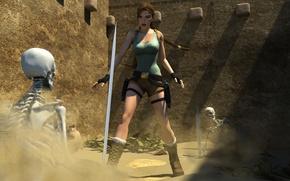 Картинка меч, скелет, Tomb Raider, sword, art, Lara Croft, fan