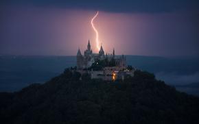 Картинка гроза, небо, замок, молния