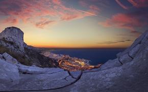 Картинка море, закат, город, огни, панорама, Монако