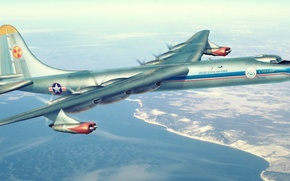 Картинка war, art, airplane, painting, aviation, Convair B-36 Peacemaker