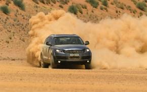 Картинка ветер, ауди, пустыня, пыль, поворот, тачки, cars, desert, sands, auto walls, dust, wind с машинами