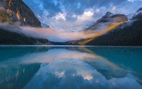 Картинка горы, отражение, облако, Канада, Альберта, Национальный парк Банф, озеро Луиз