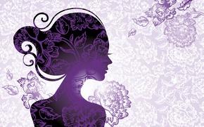 Картинка листья, девушка, цветы, стиль, силуэт, профиль, ресницы. волосы